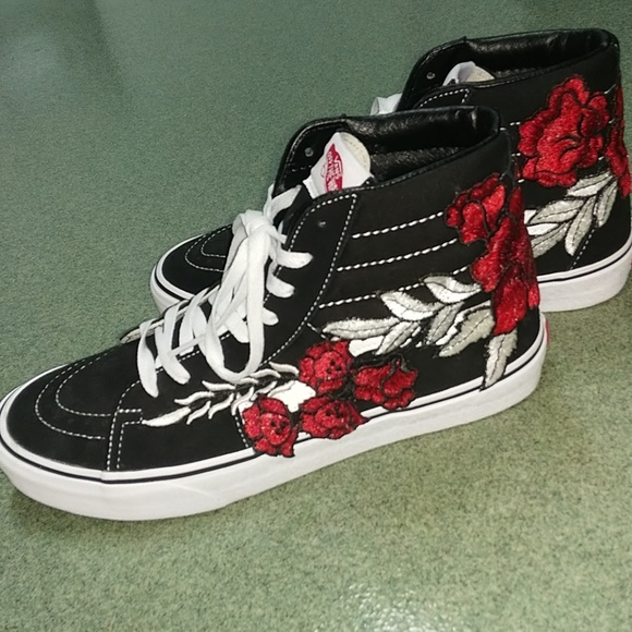 Vans High Top Rose Embroidered Shoes